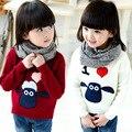 Nuevo llega niñas suéteres 2016 otoño invierno calidad shaun the sheep pullover casual suéteres de las muchachas de los niños trajes