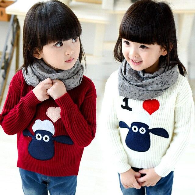 a23f1ab5d Nuevo llega niñas suéteres 2016 otoño invierno calidad shaun the sheep  pullover casual suéteres de las