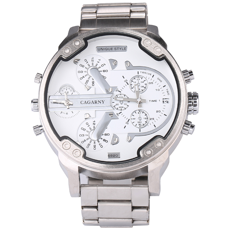<font><b>52MM</b></font> Classy Big Case <font><b>Watch</b></font> For Men Stainless Steel Band Casual Mens Quartz <font><b>Watches</b></font> Cagarny Waterproof Military Relogio Masculino image