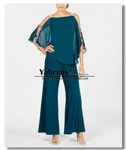 Green Two piece Mother of the bride pantsuits Overlay Top Trousers set 2019 New arrival