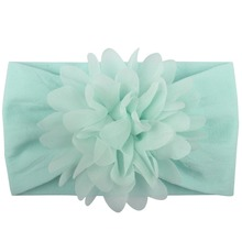 Fashion new Super soft nylon towel accessories Creative chiffon flower headband baby hair cute princess band