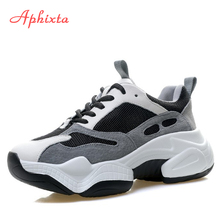 Aphixta Height Increasing Boots Shoes Woman Suede Leather Air Mesh Ankle Chunky Sole Women Sneakers Running