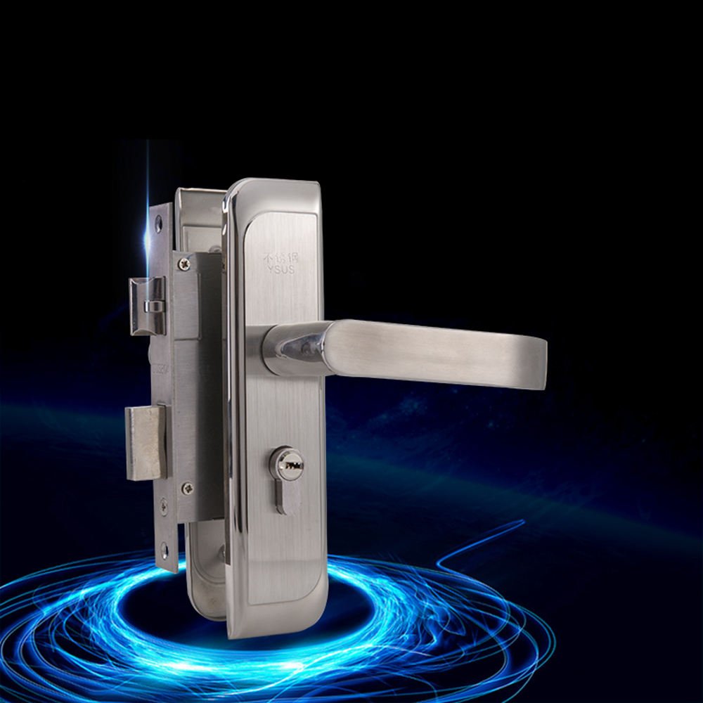Europe Style Genuine 304 Stainless Steel Interior Door Handle Lock Bedroom 50 Size Anti Insert Handle-lock 304 stainless steel door suction contact free touch wall toilet room bedroom anti collision magnet