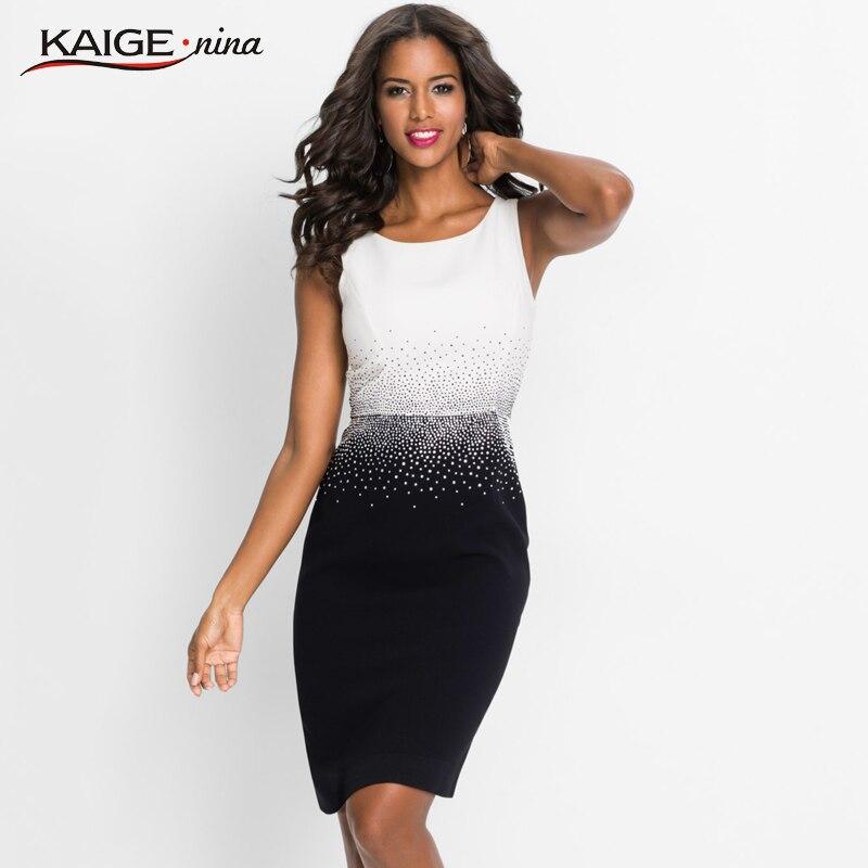 KaigeNina New Fashion Hot Sale Women Office Lady Patchwork  Sleeveless Diamonds O-Neck Mid-Calf  Knitting Cotton Dress 18011