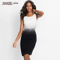 KaigeNina New Fashion Hot Sale Women Office Lady Patchwork Sleeveless Diamonds O Neck Mid Calf Knitting