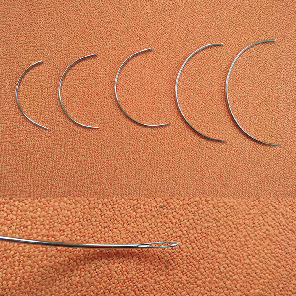 C Type Weaving Needle Upholstery Carpet Leather Canvas Repair Weaving Curved Needles Pins Hand Sewing Needles 50pcs/lot