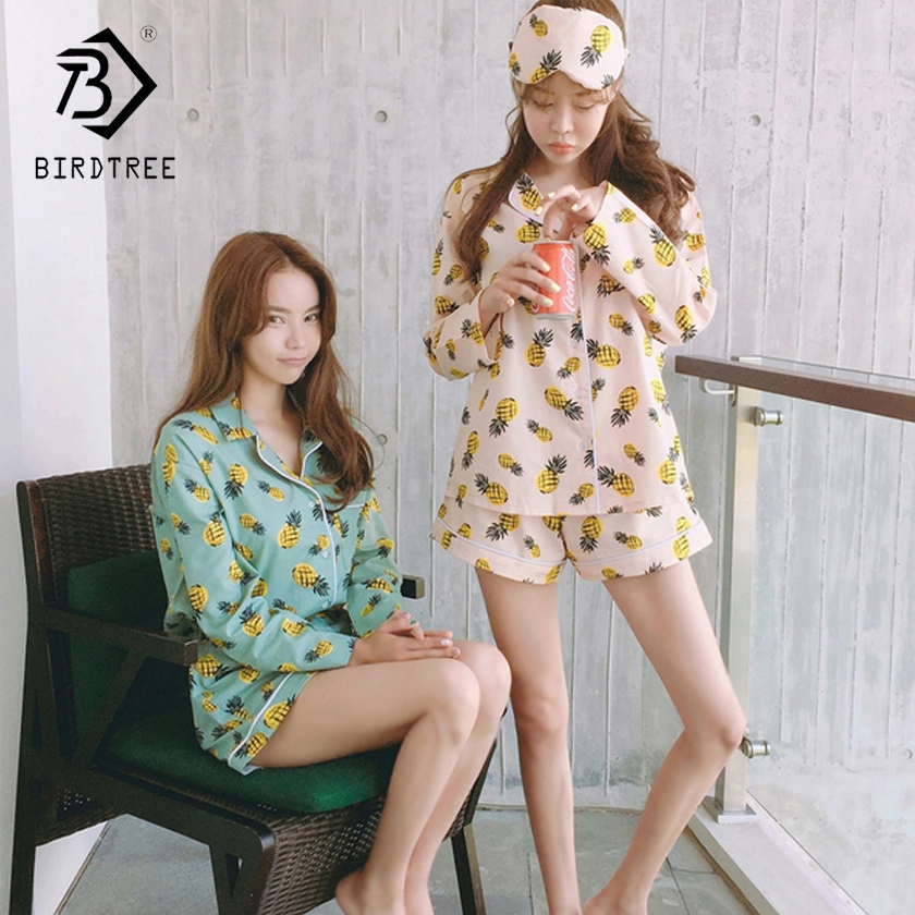 Pajama Sets Women Pineapple Print 3 Pieces Set Long Sleeve Tops + Shorts Elastic Waist + Blinder Loose S7D609L