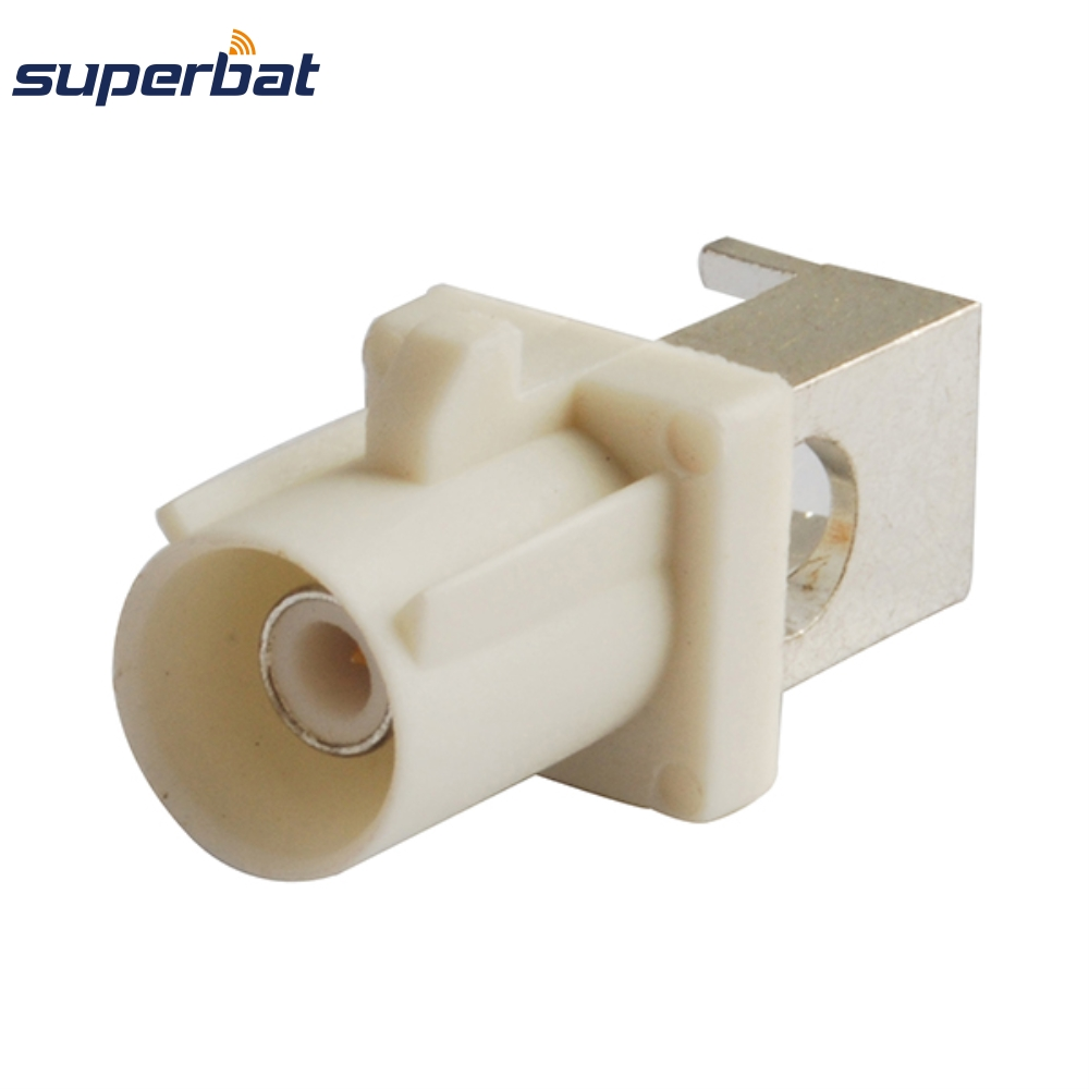 Superbat 10pcs Free Shipping RF Fakra Connector Plug Male End Launch PCB Mount Right Angle white/9001