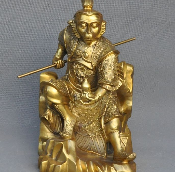 Chinese Brass Famous Myth Monkey King Sun Wukong golden cudgel Son Goku Statue|statue| |  - title=