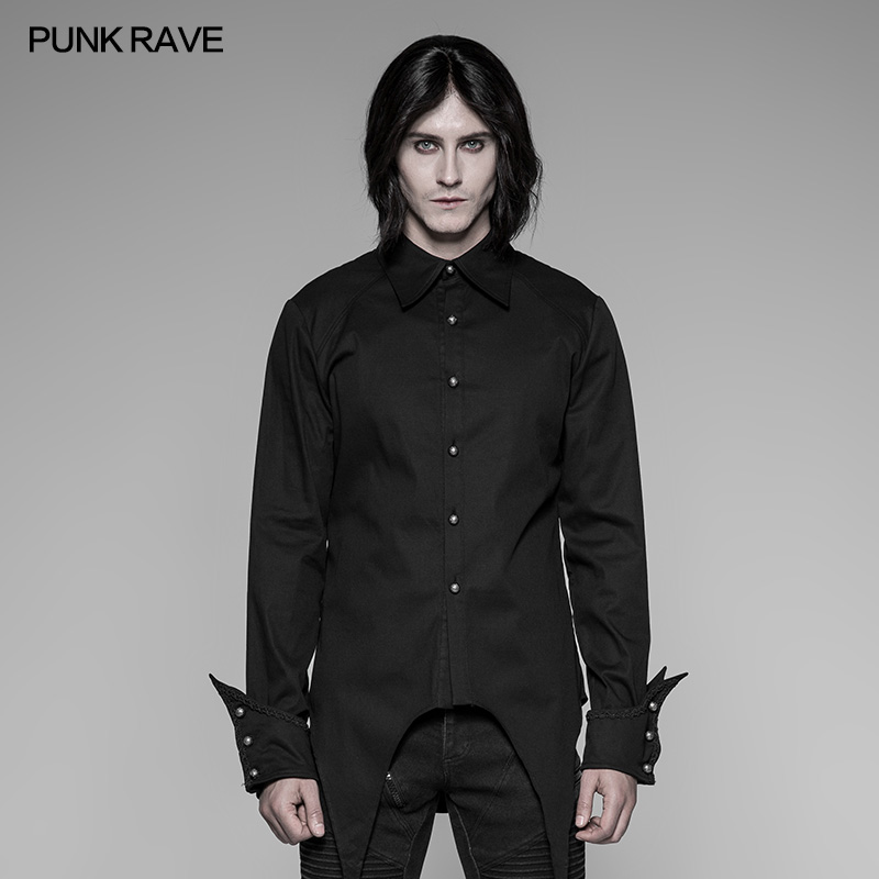PUNK RAVE Men's Evening Party Black Red Formal Shirt Gothic Steampunk Vintage Cotton Personality Long Sleeve Blosue Shirt