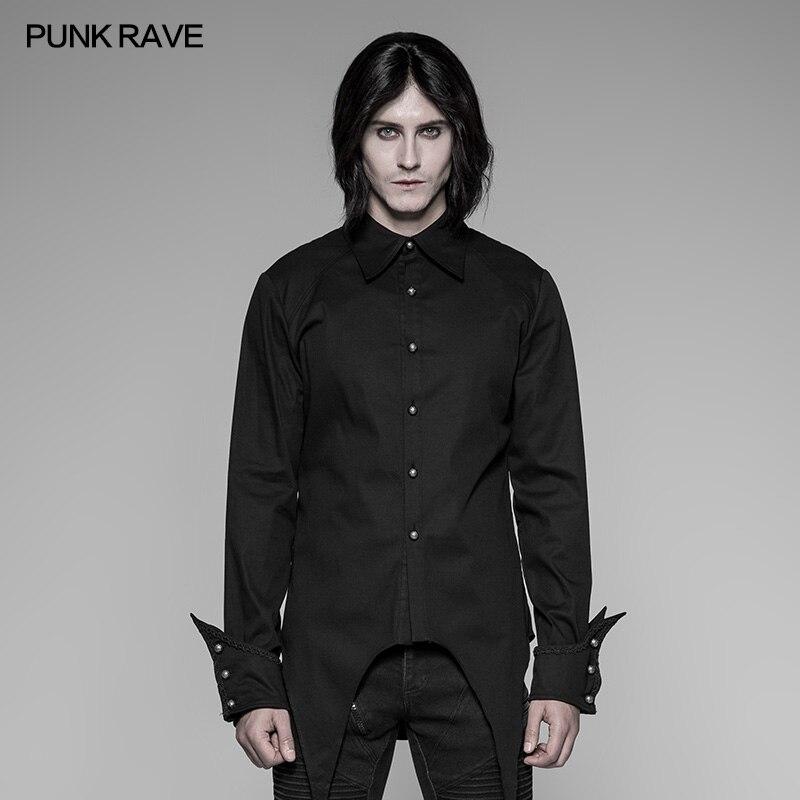PUNK RAVE hommes soirée soirée noir rouge chemise formelle gothique Steampunk Vintage coton personnalité à manches longues chemise Blosue