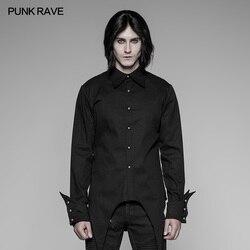 PUNK RAVE mannen Avondfeest Zwart Rood Formele Shirt Gothic Steampunk Vintage Katoen Persoonlijkheid Lange Mouw Blosue Shirt