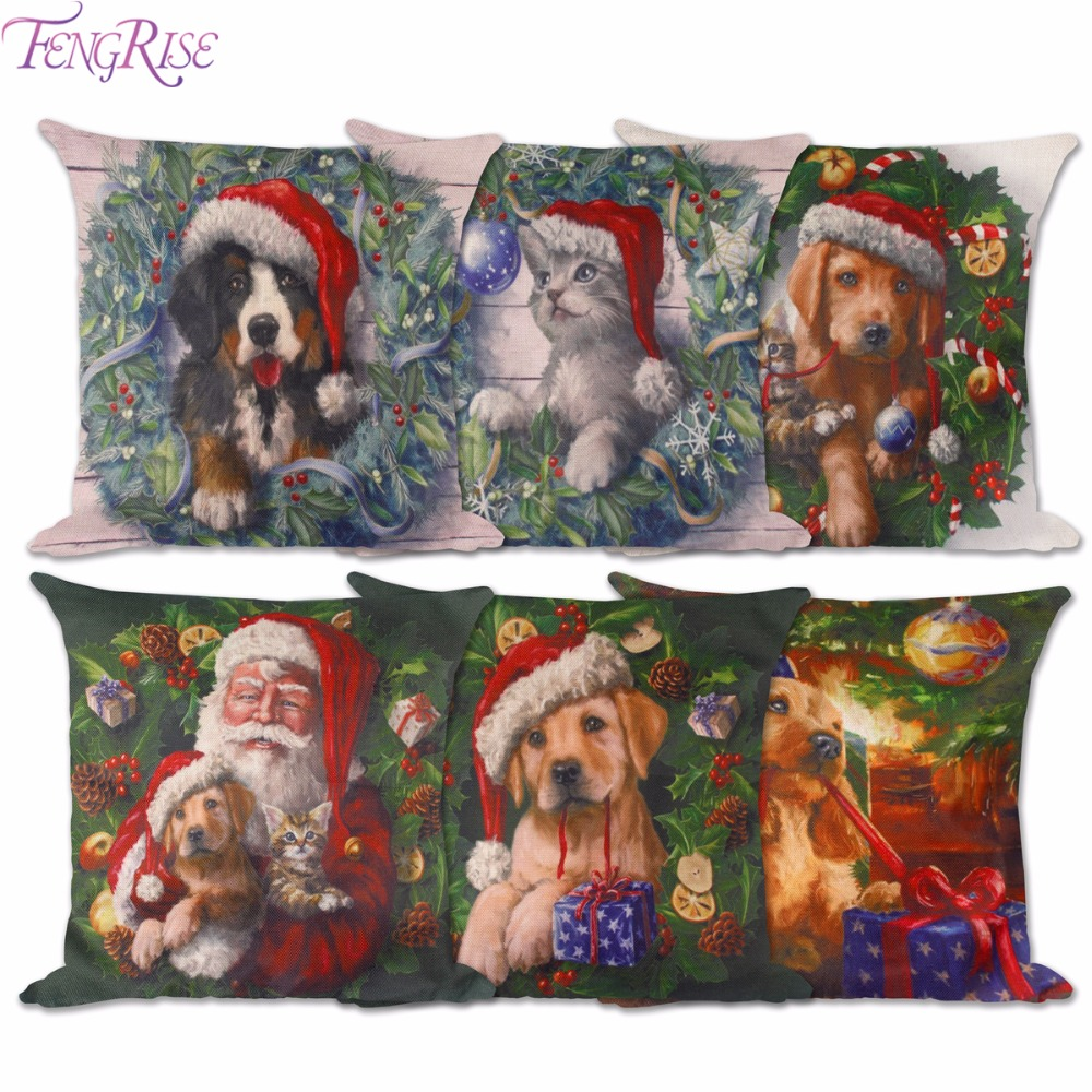 Fengrise xmas animal sery cushion cover dogs cats for Cat decorations home