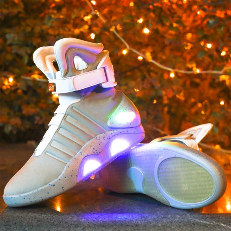 Men Luminous Shoes 2017 Future Warrior Men Casual Shoes Flash Ankle Boots LED Lights Up Boots USB Charging Colorful Shoes women led light shoes casual shoes led luminous boots unisex genuine leather ankle boots women usb charging martin boots 35 46