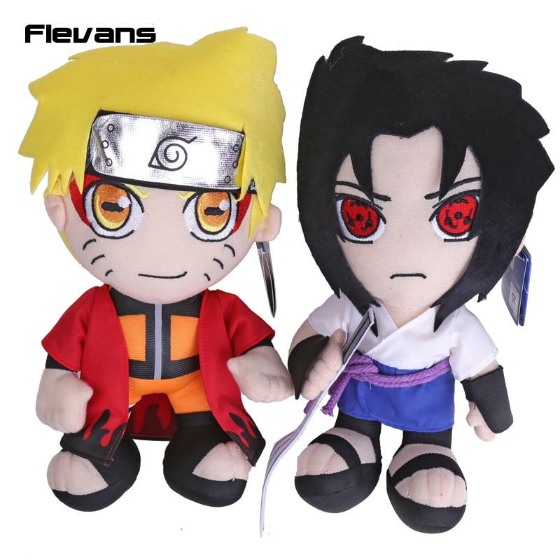 Anime Naruto Uzumaki Naruto Uchiha Sasuke Plush Toys Soft Stuffed Dolls 12