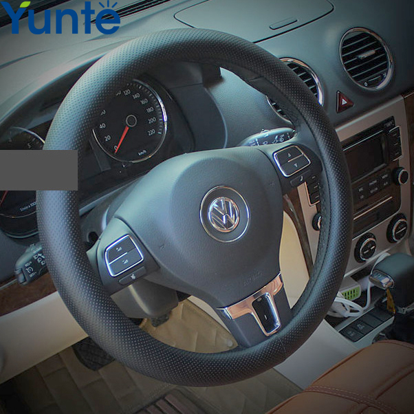 Leather Car Styling Steering Wheel Cover For Hyundai tucson accent i30 solaris elantra getz santa fe ix35 i20 Auto accessories