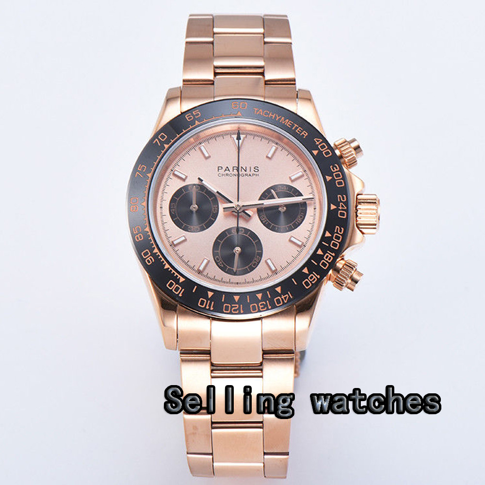 39mm PARNIS black rose gold dial sapphire golden case full Chronograph quartz mens watch orkina brand clock 2016 new luxury chronograph rose gold case black dial japan movement mens wrist watch cool horloges