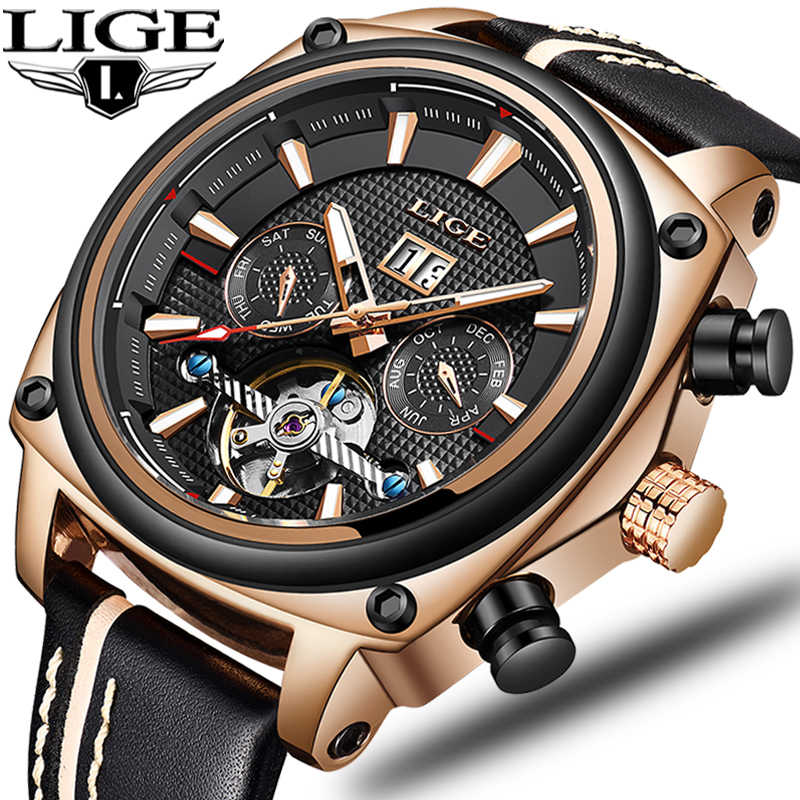 LIGE Top Brand Luxury Men Watches Automatic Mechanical Watch Tourbillon Clock Leather Casual Business Wristwatch Relojes Hombre