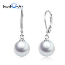 Elegant 925 Sterling Silver Hoop Earrings Ball Pearl Earrings for Women Wedding Jewelry Gift for Sister (JewelOra EA103263)(China)