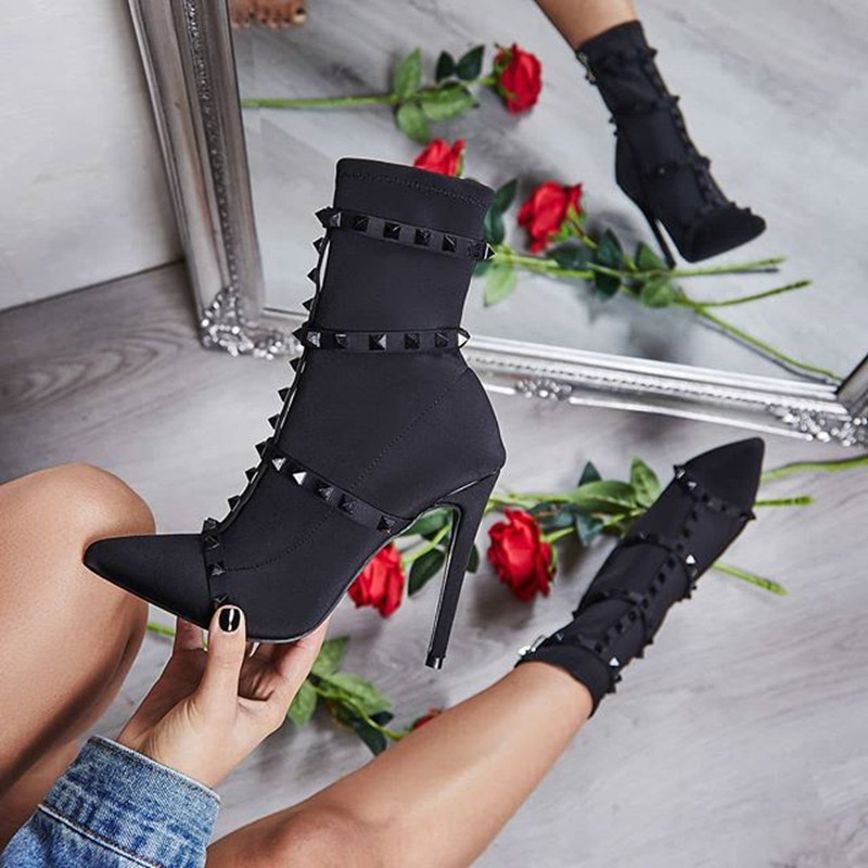 JINJOE Women boots Rivet shoes boots Solid Ankle Boots Slouch Pointed Toe Short Boots High Heel Stilettos Side Zip Bootie Shoes