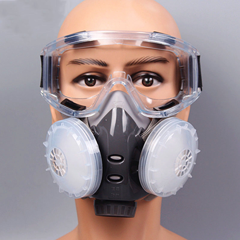 Dust Face Mask With Goggles Grey Safety Chemical Respirator Thermoplastic Materials With Anti-dust/smog/exhaust 8010C new safurance protection filter dual gas mask chemical gas anti dust paint respirator face mask with goggles workplace safety