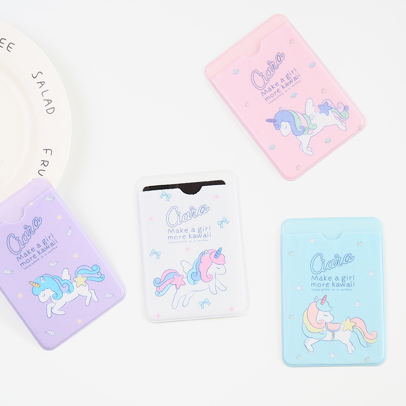 2pcs/lot Kawaii Unicorn Characters Double Layer Silicone Card Cover Bus Bank Id Card Case Holder ...