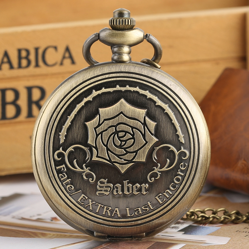 Fate/EXTRA Last Encore Bronze Rose Display Quartz Pocket Watch Bronze Antique Pendant Watch Exquisite Necklace Clock Top Gifts