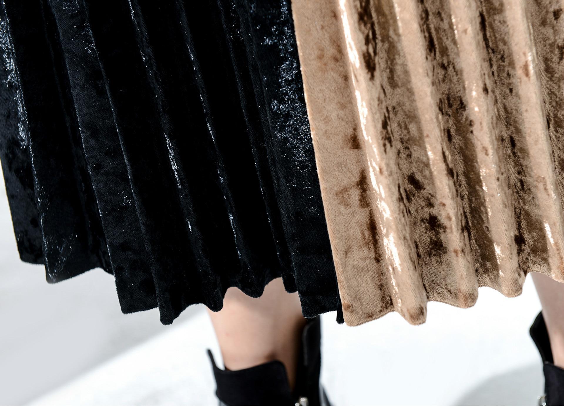 Long Skirts For Women 2018 Diamond Velvet Asymmetric color Saias Na Altura Do Joelho Falda Faldas Largas Mujer Verano