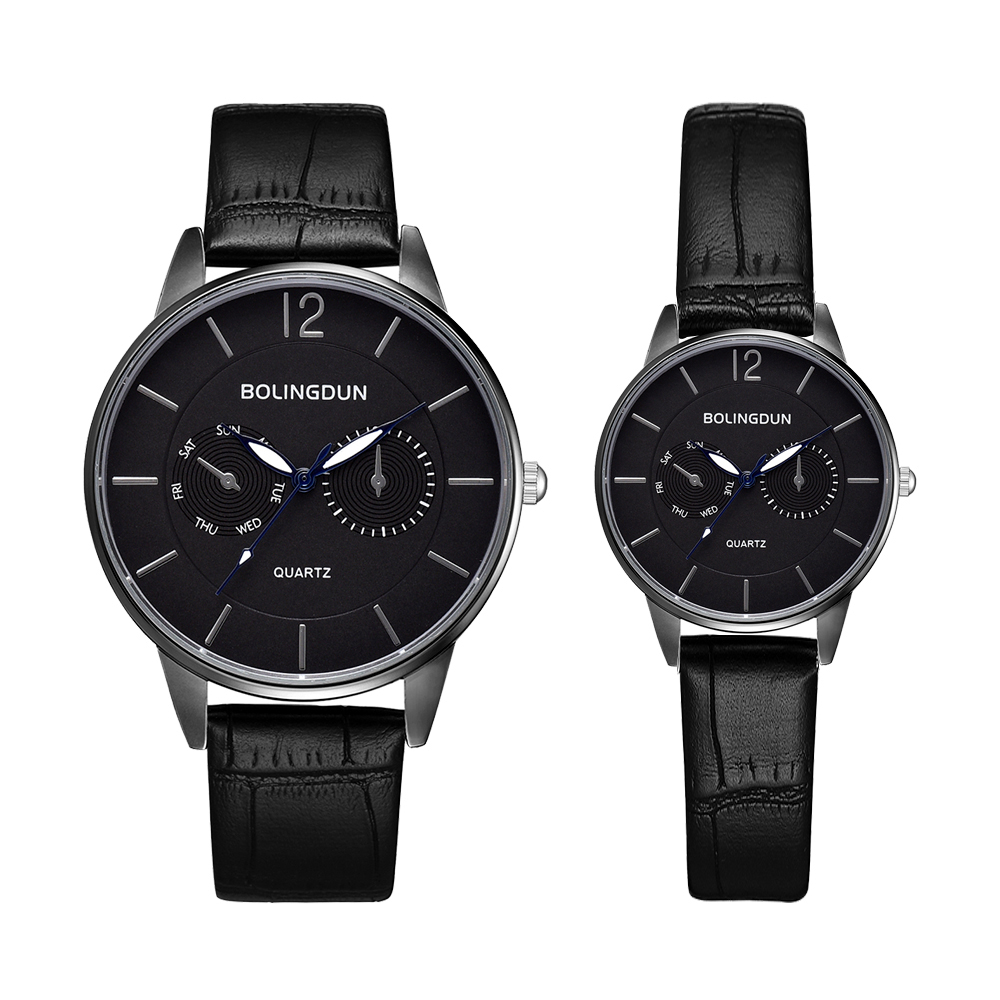 Luxury Black Leather Watch For Women & Men Fashion Couple Sports Watch Quartz Wristwatch Casual Leather Gifts Set For Men Women