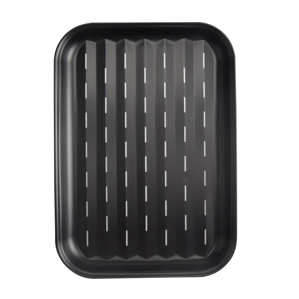 34*24*2CM Baking Utensils Grill Plate with Hole Square Fish Toast Carbon Steel Non-stick Barbecue Plate Pizza Tray Pastry Tools