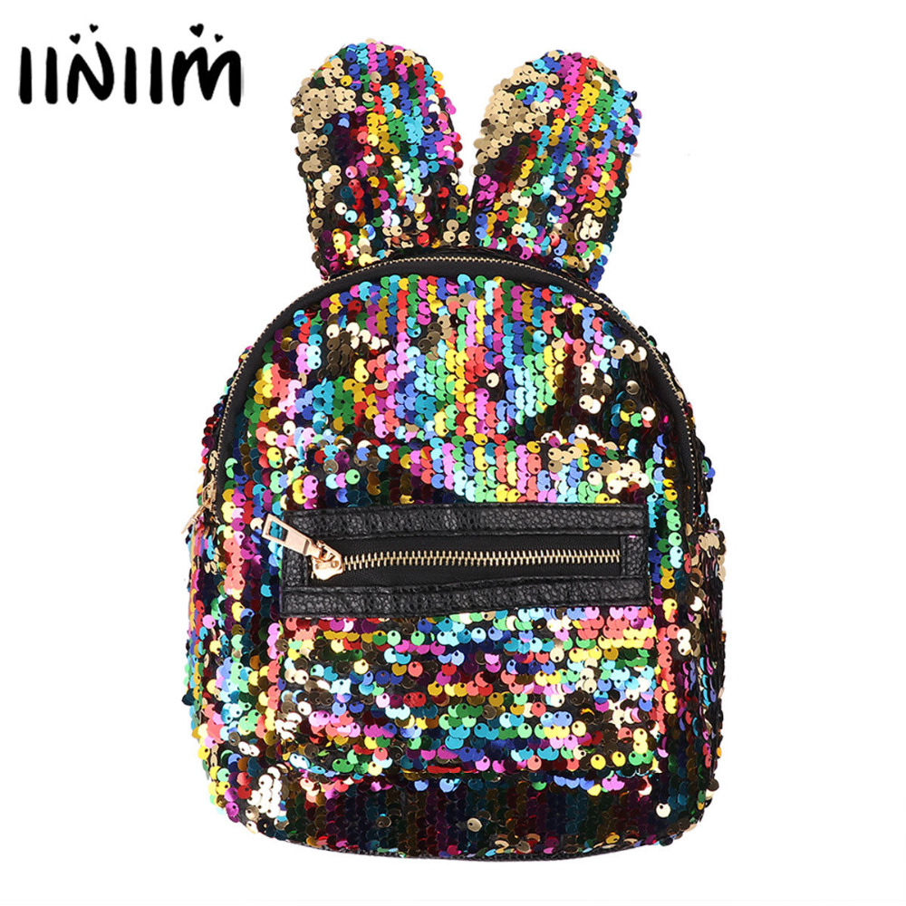 Cute Rabbit Big Ears Shaped Dazzling Sequins Backpack Shoulder Bag Ballet Schoolbag Knapsack for Women Girls Birthday Gifts