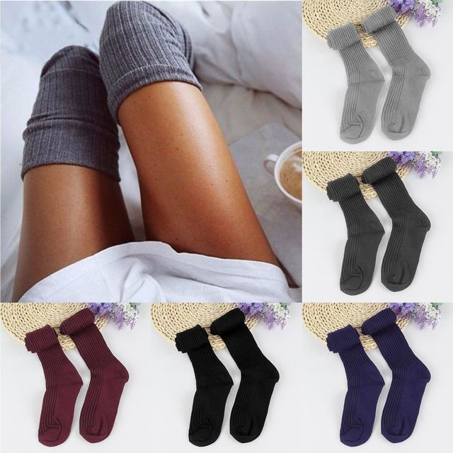 12f5635ac 1 Pair 5 Solid Colors Fashion Sexy Warm Thigh High Over the Knee Socks Long  Cotton Stockings For Girls Ladies Women