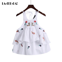 La Tee Da 2017 New Cotton Tanks Tops Women Strap Waistcoat Retro Strap Tank Tops Embroidery