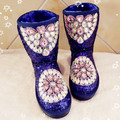 2016 European station winter new handmade diamond-studded gem sequin in the tube flat-bottomed warm woman boots Mianxue snow boo