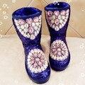 2016 estación Europeo invierno nueva hecha a mano del diamante-tachonado gema de lentejuelas en el tubo de fondo plano botas de mujer caliente Mianxue nieve boo