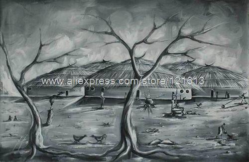 Desa Bolgatanga Afrika Fine Art Painting Oleh Buatan Tangan Minyak