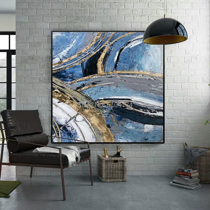 Best Selling Hand-painted Thick Textured Abstract Oil Painting on Canvas Pop Fine Art with Gold Foil