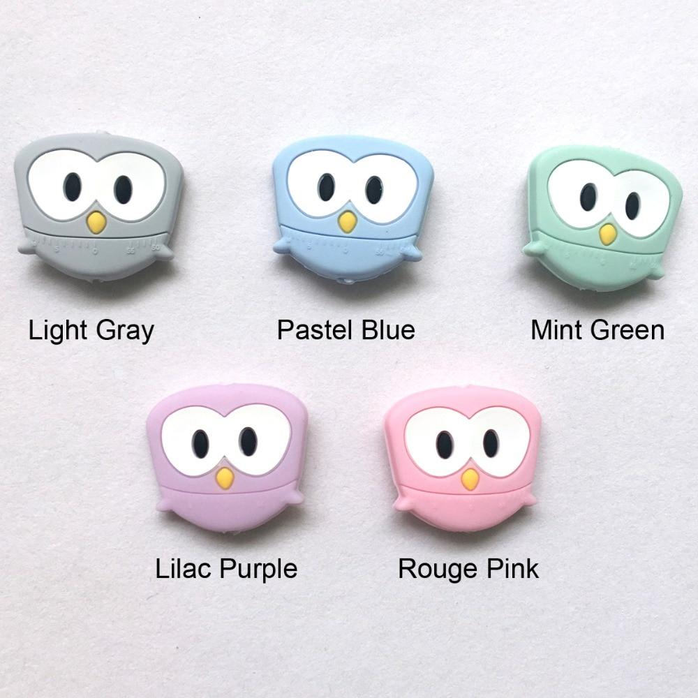silicone owl teething beads