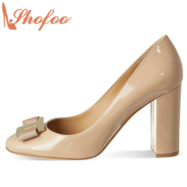 Shofoo Fashion Shoes Chunky High Heels Round Toe Casual Black Women Dress Office Top