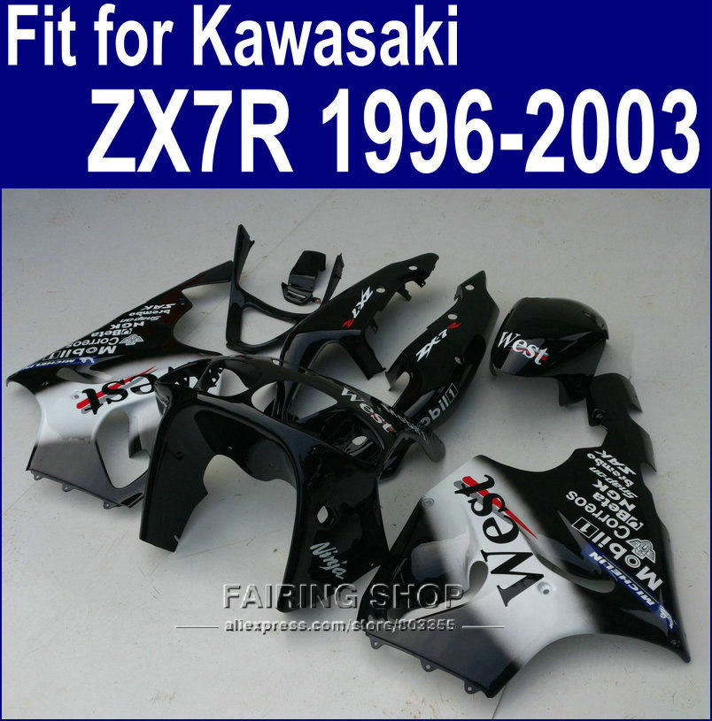 WEST decal Fairings For Kawasaki ninja ZX7R 1996 1999 1998 2002 2003 ( Customize free ) 96 97 98 99 00 01 02 03 Fairing kit a39 cnc brake clutch levers for kawasaki ninja zx 7r 96 03 zx 7 r zx 7r zx7r 1996 1997 1998 1999 zx750 extendable foldable lever