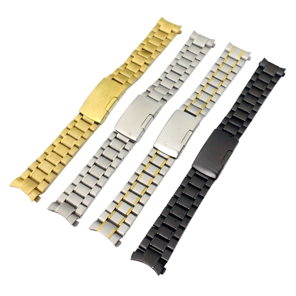 18/19/20/22mm Fashion Men Alloy Solid Links Arc Degree Watchband Stainless Steel Watch Strap Bracelet Watch Accessories JL