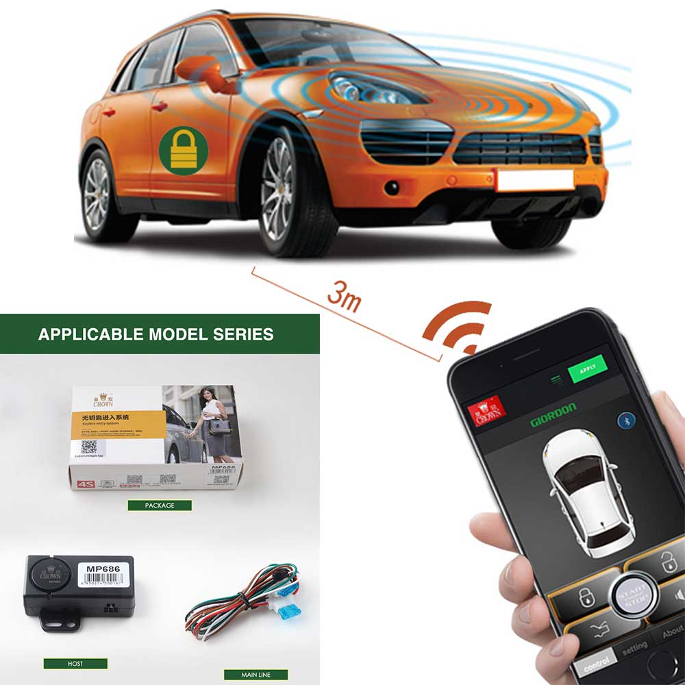 PKE Smart Key Car Alarm System With Stop Push Mobile Phone Controls Security Passive Keyless Entry Central Locking MP686