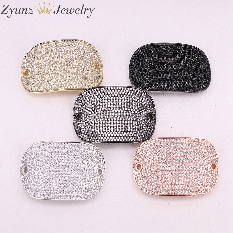 5PCS ZYZ298 1554 Pure color micro pave CZ connector silver rose gold gun black gold copper