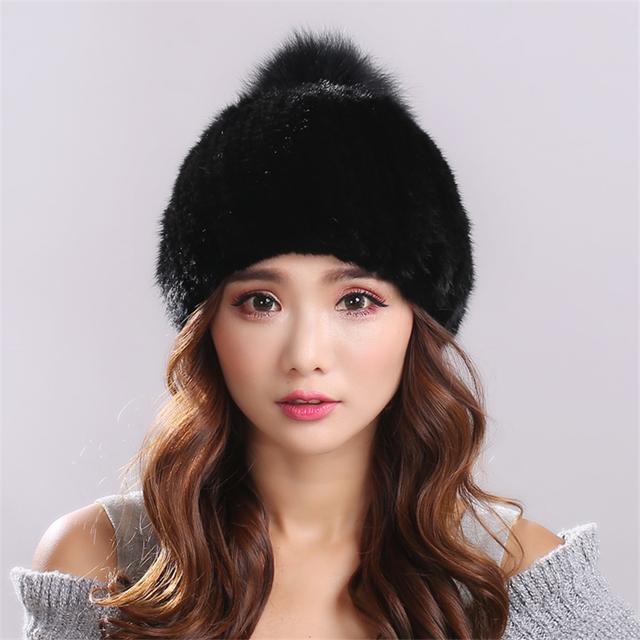 Knitting piel de Visón versión engrosamiento Cálido y confortable negro puro marquesinas sombrero de piel para las mujeres gorros mujer invierno # H9015