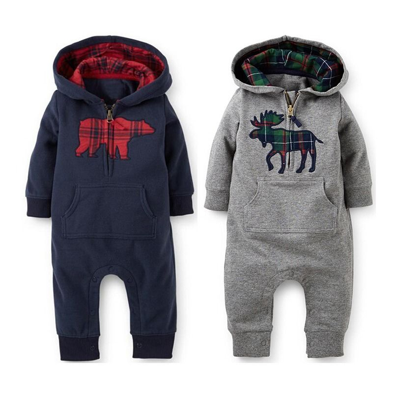 Toddler Baby Boys Girls Cotton Long Sleeve Hooded Romper One-piece Suit Coveralls jumpsuit children warm baby winter rompers 6m 3years baby winter overall toddler warm velvet bear hooded rompers infant long pants kids girls boys jumpsuit pink blue