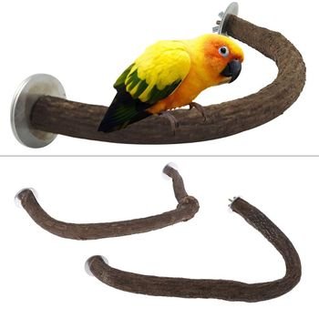 1PC Natural Wooden Bird Perch U Shape Stand Pet Parrot Foot Grinding Bird Cage Accessories S/L