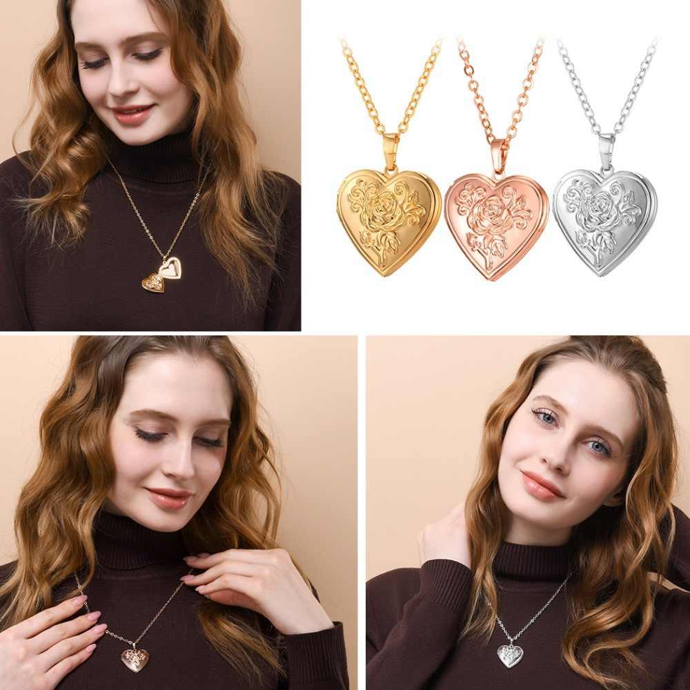 U7 serce medalion naszyjnik wisiorek Metal mosiądz złota ramka na zdjęcia pamięci romantyczna miłość naszyjnik dla kobiet prezent na Boże Narodzenie gorąca sprzedaż