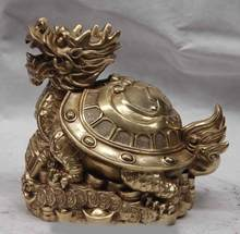 SCY Chine Cuivre En Laiton Richesse Argent Bénédiction Dragon tortue Tortue Cocu Statue(China)
