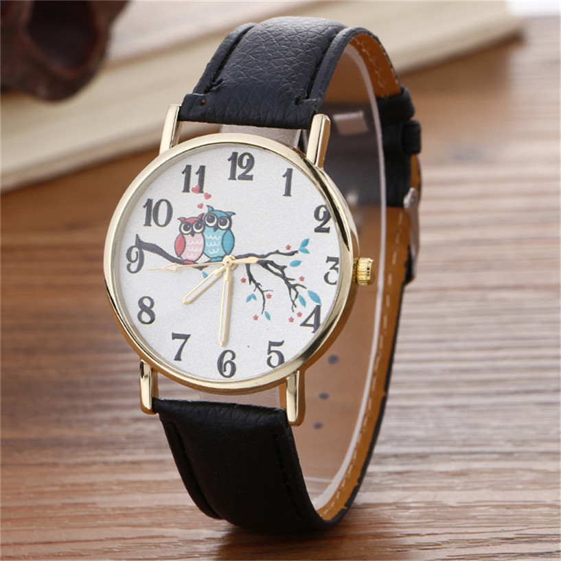 2017 NEW Hot Sale women watches relogio feminino Cute Owl Pattern Neutral Fashion Leather Quartz Wrist Watch Drop Shipping #0321 2017 new fashion tai chi cat watch casual leather women wristwatches quartz watch relogio feminino gift drop shipping