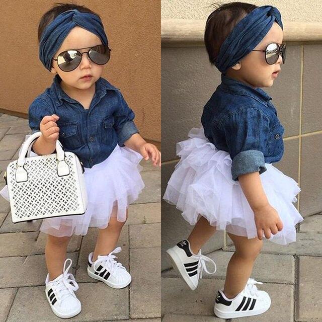 0-5T Babies Girl Summer Clothing Set Baby Girls Denim Shirt Top +Tutu Skirts+Headband 3pcs Outfits Sets New